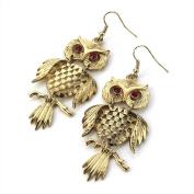 Owl Drop Pierced Fashion Earrings Antique Gold