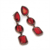 Drop Bead Pierced Fashion Earrings Red & Copper
