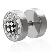 Urban HQ Stainless Steel Cubic Zirconia Single Chequered Flag Board Straight Barbell Fake Ear Plug with 12 Stones