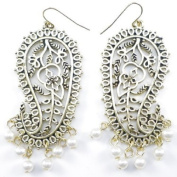Divadoo Antique Gold Pearl Paisley Earrings
