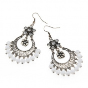 Beautiful White Bead Chandelier Costume Jewellery Fashion Earrings - Comes in a lovely Gift bag.
