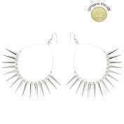 Ladies Hoop Spike Earrings in Silver Tone
