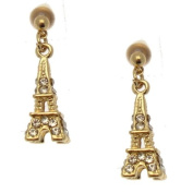 Acosta - Gold Tone with Clear Crystal - Eiffel Tower Charm Earrings - Gift Boxed