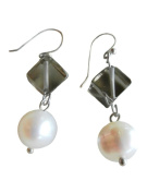 Ploy! Smoky Quartz Natural White Pearl Dangle Earrings with Nickle Free Silver Tone Hooks Handmade Gift EN2