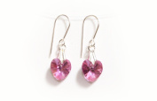 Earrings Sterling Silver with Rose Pink AB Crystal Hearts made with. ELEMENTS