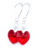Earrings Sterling Silver with Light Siam Red Clear Crystal Hearts Made With. ELEMENTS
