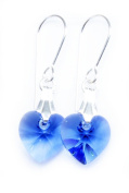 Earrings Sterling Silver with Sapphire Blue Clear Crystal Hearts Made With. ELEMENTS