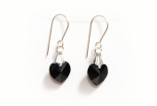 Earrings Sterling Silver with Jet Black Crystal Hearts made with. ELEMENTS