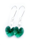 Earrings Sterling Silver with Emerald Clear Green Crystal Hearts Made With. ELEMENTS