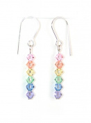 Handmade Sterling Silver & Sparkling Pastel Crystals Rainbow Earrings Made With. ELEMENTS