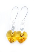 Earrings Sterling Silver with Sunflower Yellow Clear Crystal Hearts Made With. ELEMENTS