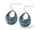 Exquisite Natural Abalone Paua Shell Teardrop Drop Earrings in Delicate Blue Green, 25mm in size, with Sterling Silver Earwires.