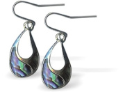 Exquisite Natural Abalone Paua Shell Cordelia Drop Earrings in Delicate Blue Green, 20mm in size, with Sterling Silver Earwires.