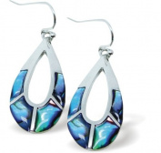 Exquisite Natural Abalone Paua Shell Pear Drop Earrings in Delicate Blue Green, 25mm in size, with Sterling Silver Earwires.