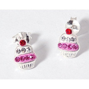The Olivia Collection Sterling Silver Funky Pink Cupcake Stud Earrings