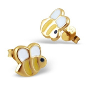 Pair of Small Bumble Bee Sterling Silver Stud Earrings With Gold Plating (0.9cm x 0.8cm) Supplied in Gift Bag