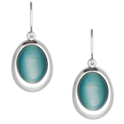 Acosta - Aqua Blue Cats Eye Stone - Classic Oval Drop Earrings (Silver Coloured) - Gift Boxed