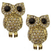 Acosta - Clear Crystal Wise Owl Earrings with Black Eyes (Gold Tone) - Gift Boxed