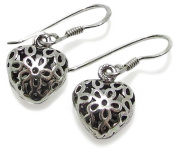 2.5g Solid .925 Sterling Silver 3D Heart Drop Oxidised Earrings with Anti-Tarnish E-Coat Protection - FREE GIFT BOX