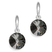 Grey. Crystal Earrings Round 925 Sterling Silver, Made with. Elements by Spark