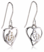 Heritage Sterling Silver 61F5HP. Open Rose Heart Drop Earrings