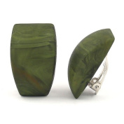Earring clip-on trapezium green marbled