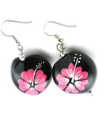 Jewellery Of The Planet Hand Painted Pink Flower Surf Earrings From Hawaii