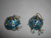 Goethnic Handmade Lacquer Gold Plated Ear-Rings In Traditional Style Cyan Dome Shaped And Pearl Bead Danglers