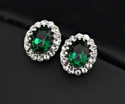 MADE WITH. ELEMENTS Emerald Oval 18K PURE GOLD PLATED Fashion Stud Earrings with Austrian Crystal For Women - Perfect Birthday Christmas Valentines Mothers Day Gift for Her (Comes In A Free Gift Box) - Best Price