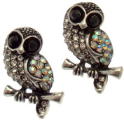 Acosta - Clear & AB Crystal - Vintage Style Owl Earrings (Antique Silver Tone) - Gift Boxed