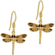 Golden Wing Dragonfly Drop Earrings / Ladies Girls Jewellery Gift