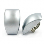 FASHION, EARRINGS, CLIP-ON, TRAPEZIUM, CHROME-MATTE, NEW