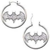 DC Comics Official Licence Batman Silver Tone Colour with Glitter Fashion 1.5 Hoop Earrings