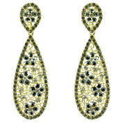 Black and Clear Crystal on Gold Plated Filigree Long Teardrop Earrings
