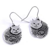 Fat Cat Pewter Earrings