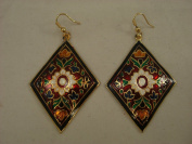 Goethnic Handmade Dangling Ear-Rings In 'Meenakari' Work And Gold Finish Set Of 2 Diamond Shaped Black And Red