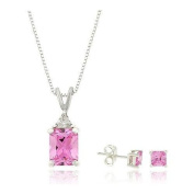 Silver Pink Cubic Zirconia Pendant and Earring Set
