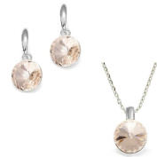 Champagne. Crystal Round Pendant Necklace and Earring Set, 925 Sterling Silver, Pendant 41cm and 5.1cm extension. Made with. Elements