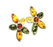 Beautiful 925 Sterling Silver & Baltic Amber Designer Earrings SilverAmber GL060