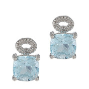 10k White Gold Cushion Blue Topaz and Pave Diamond Earrings