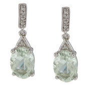 10k White Gold Oval Green Amethyst and Pave Diamond Earrings
