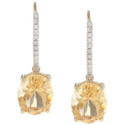 10k Yellow Gold Oval Citrine and Pave Diamond Earrings