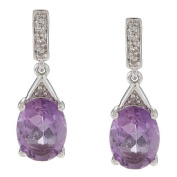 10k White Gold Oval Amethyst and Pave Diamond Earrings