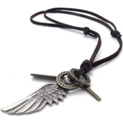Konov Jewellery Unisex Mens Vintage Style Angel Wing Cross Pendant Genuine Leather Necklace Chain, Colour Brown Silver
