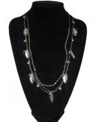 Silver Tone Turquoise Bead Leaf Necklace