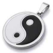 K Mega Jewellery Ying Yang Silver Mens Pendant Necklace