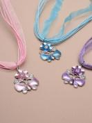 Pink Enamel Butterfly & Flower Cord Necklace Set IN3509