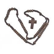 Mens Womens Long Brown Wood Wooden Rosary Bead Necklace with Cross Crucifix Pendant by Kurtzy TM