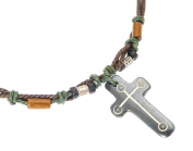 Surfer Coloured Cord Necklace With Carved Bone Cross / Crucifix Pendant - 54cm NOT ADJUSTABLE