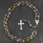 Christian long rainbow flower multi-coloured rosary beads